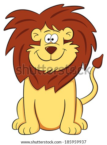 illustration of a cartoon lion on white