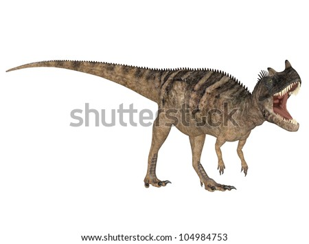 Illustration of a Ceratosaurus (dinosaur species) isolated on a white background
