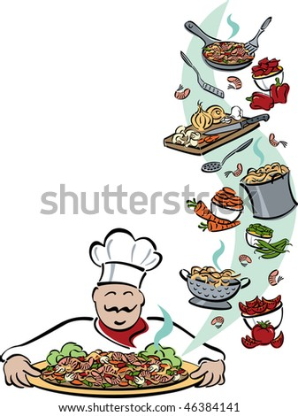 Illustration of a chef presenting a platter of shrimp, pasta and vegetables, with food and tools used for preparation. Space for text on left.