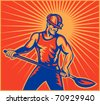 illustration of a Coal miner worker at work with spade shovel front view  done in retro woodcut style with sunburst in background - stock photo