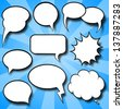 illustration of a collection of comic style speech bubbles - stock vector