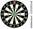 illustration of a dart board isolated on white background - stock photo