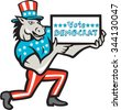 Illustration of a democrat donkey mascot of the democratic grand old party gop wearing American stars and stripes flag clothes and hat presenting holding Vote Democrat sign done in cartoon style. - stock vector