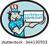 Illustration of a democrat donkey mascot of the democratic grand old party gop wearing American stars and stripes flag shirt hat presenting holding Vote Democrat sign done in cartoon style oval shape - stock photo