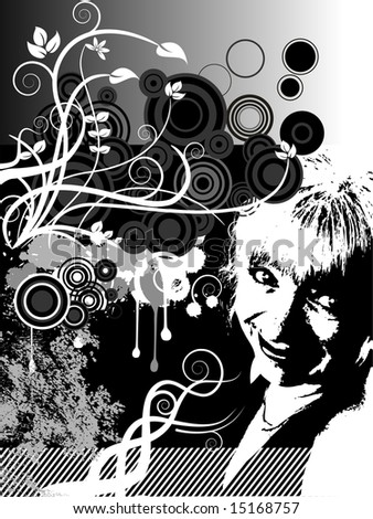 illustration of a floral grunge background with a woman
