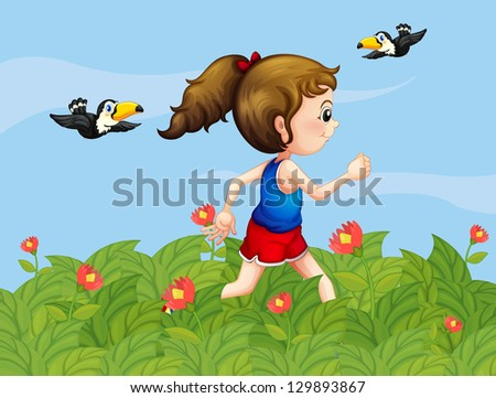 Illustration of a girl walking at the garden with birds