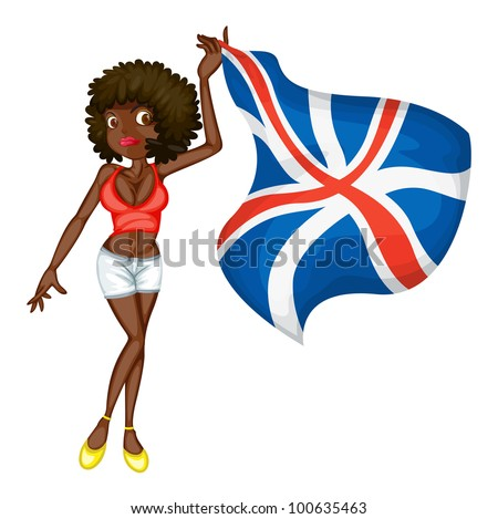 Illustration of a girl with a flag - EPS VECTOR format also available in my portfolio.