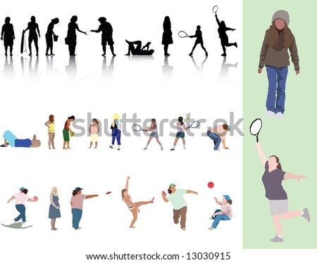 Illustration of a group of 25 women and girls in various poses, silhouettes and detailed.