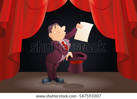 illustration of a magician wear tuxedo hold blank paper on magic performance
