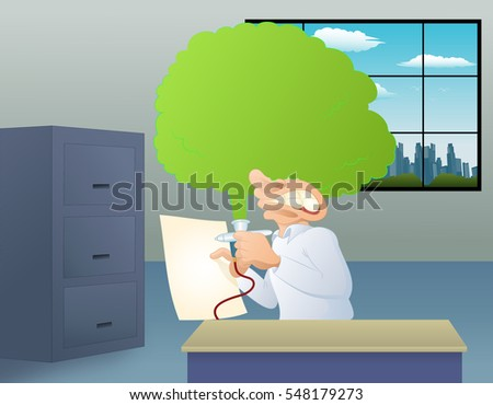 illustration of a man fail using spray paint tool on gallery background