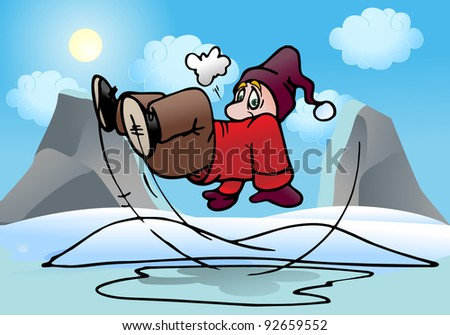 illustration of a man slip on outdoor ice pool background