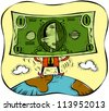 Illustration of a man standing with a dollar bill for a face - stock photo