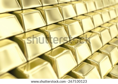 Illustration of a many ingots of fine gold