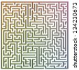 Illustration of a maze slightly extruded - stock vector