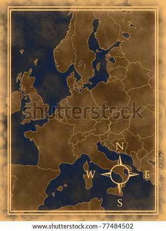 Illustration of a old Europe map