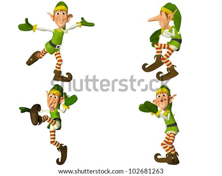 Illustration of a pack of four (4) christmas elves with different poses and expressions isolated on a white background - 2of2