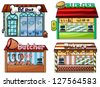 Illustration of a petshop, burger stand, butcher shop, and bakery on white background. - stock vector