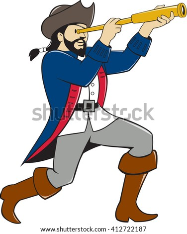 Illustration of a pirate standing looking into spyglass viewed from the side set on isolated white background done in cartoon style.