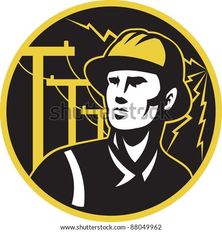 illustration of a power lineman electrician repairman worker looking up with electric utility pole post and lightning bolt in the background set inside a circle.