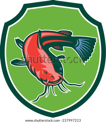 Illustration of a ray-finned fish catfish also known as mud cat, polliwogs or chucklehead black bullhead front view set inside shield on isolated background done in retro style.