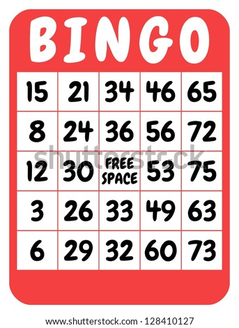 Illustration of a red isolated bingo card