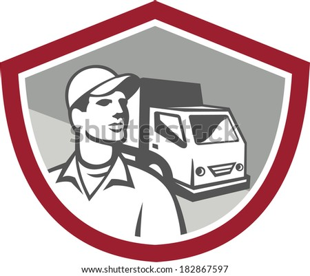 Illustration of a removal man delivery guy with moving truck van in the background set inside shield on isolated background done in retro style.