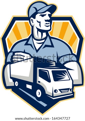 Illustration of a removal man delivery guy with moving truck van in the foreground set inside shield crest done in retro style.