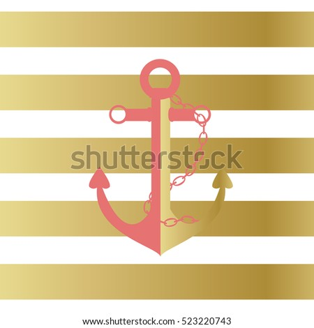 Illustration of a ship anchor and chain in a pink and gold color with a gold and white stripped background./Nautical Anchor