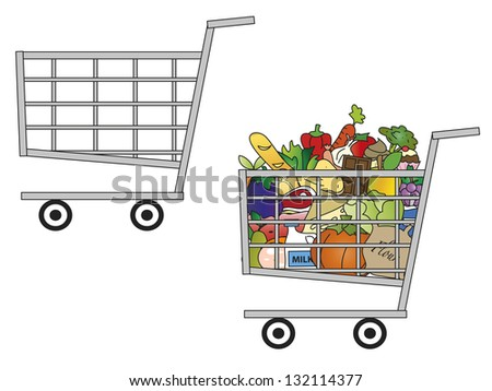 Colorful Toy Shopping Cart Filled Groceries Stock Photo ...