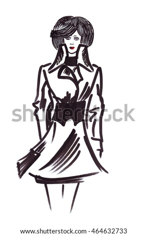 Illustration of a silhouette of fashionable woman with her hair in a raincoat isolated