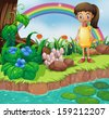 Illustration of a small girl at the riverbank with mushrooms - stock vector