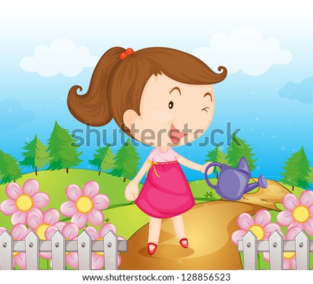 Illustration of a smiling girl with water can