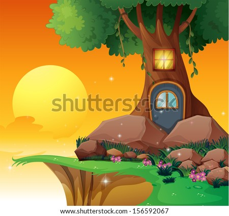 Tree House Cute Tree House Tire Stock Vector 218611717 - Shutterstock