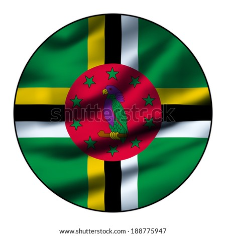 Illustration of a waving flag in a round circle - Dominica