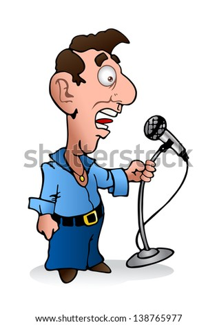 illustration of a young weird man holding microphone reporting the news on isolated white background