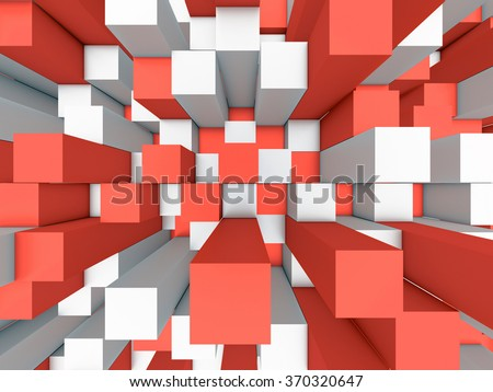 Illustration of abstract mosaic three-dimensional grey and red background