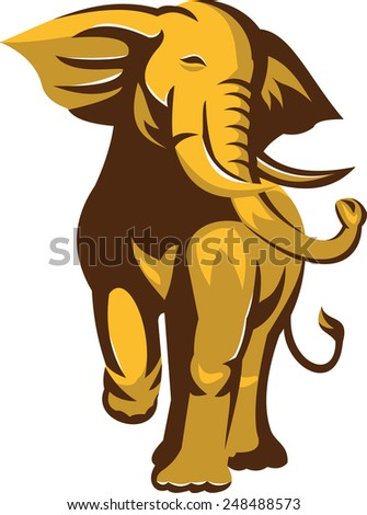 Illustration of an african bull elephant charging facing front on isolated white background  done in retro style.