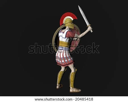 Illustration of an ancient Greek Spartan or Roman Warrior