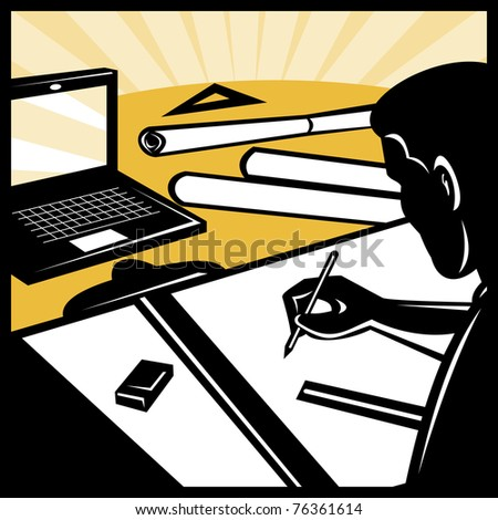 Vector Illustration Architectural Draftsman Architect Drawing ...