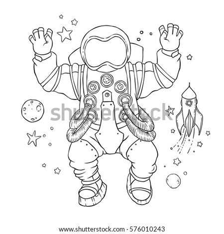 illustration of an astronaut in space suit and helmet with arms raised in greeting and hands