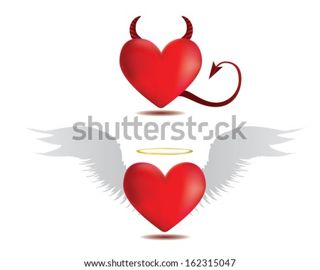 Illustration of angel and devil red hearts on white background.