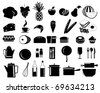 illustration of assorted food icons - stock vector
