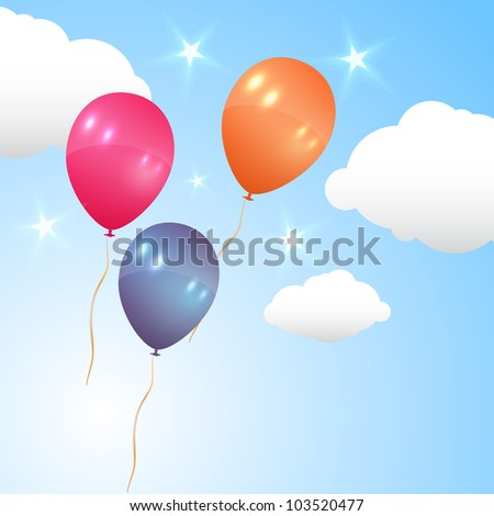 Many Beautiful Balloons In The Sky : Holiday balloons. Illustration of many color balloons on blue sky with ...