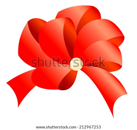 Illustration of big red bow with the pearl in the middle isolated on the white background