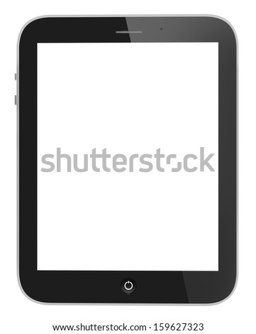 Illustration of black tablet pc similar to ipade on white background