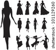 Illustration of black women silhouettes - stock photo