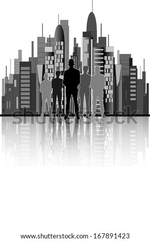 Illustration of business people with city office background
