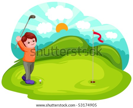 illustration of cartoon boy playing golf