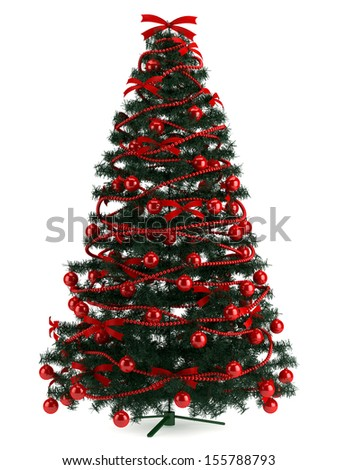 Illustration of Christmas tree in a full length image