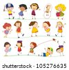 Illustration of collection of simple kids - stock photo